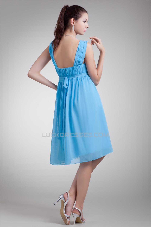 A-Line Straps Chiffon Short Blue Bridesmaid Dresses Maternity ...
