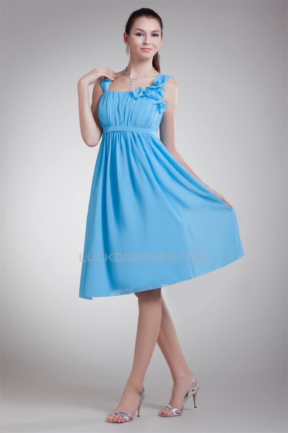 A-Line Straps Chiffon Short Blue Bridesmaid Dresses Maternity ...