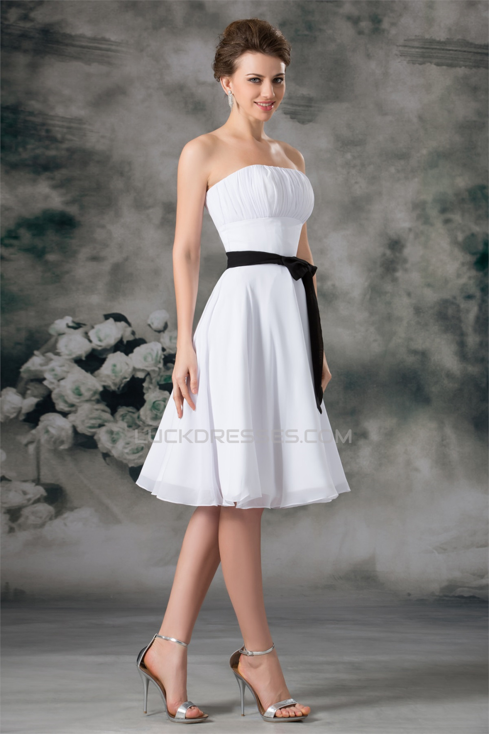 aline sleeveless chiffon short white bridesmaid dresses