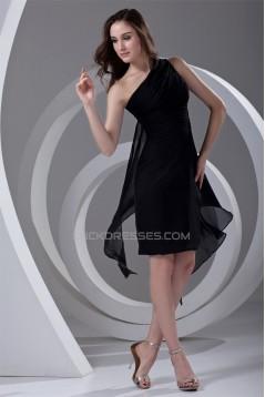 Chiffon Ruffles Sleeveless One-Shoulder Short Black Bridesmaid Dresses 02010474