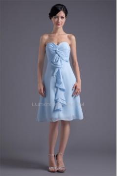 Chiffon Criss Cross Knee-Length Short Bridesmaid Dresses 02010477