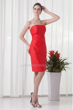 Elegant Sheath/Column Satin Pleats Knee-Length Bridesmaid Dresses 02010481