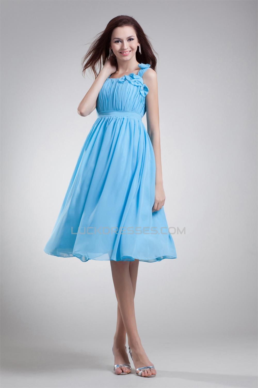 Knee Length Chiffon Short Blue Chiffon Bridesmaid Dresses