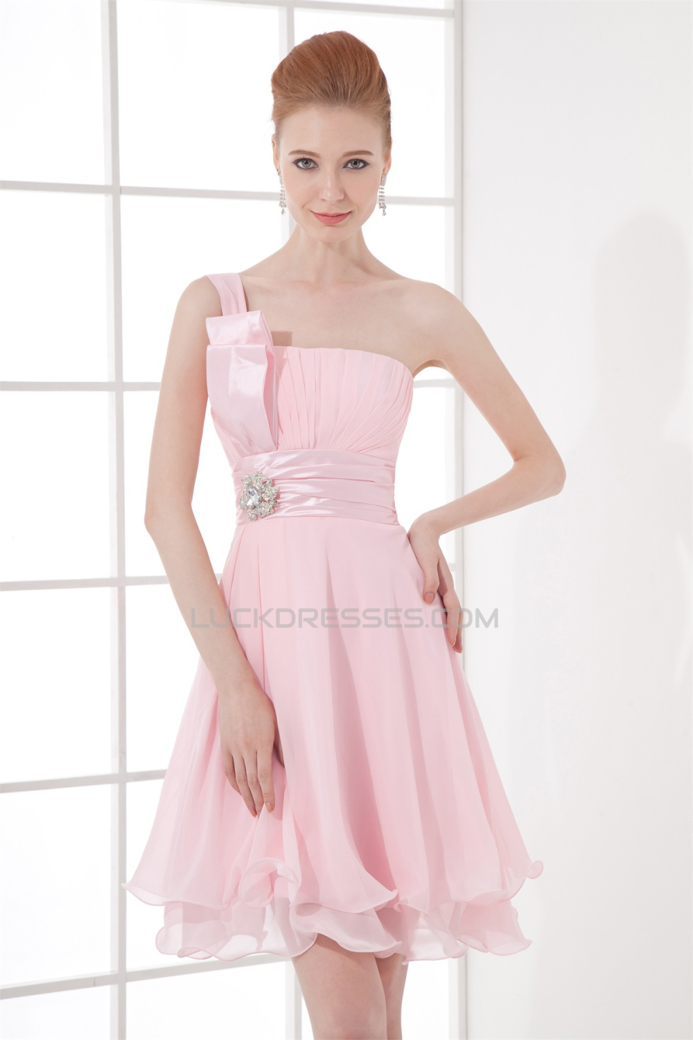 Length one shoulder sleeveless pleats short pink bridesmaid knee length one shoulder sleeveless pleats short pink bridesmaid dresses 02010492 ombrellifo Image collections