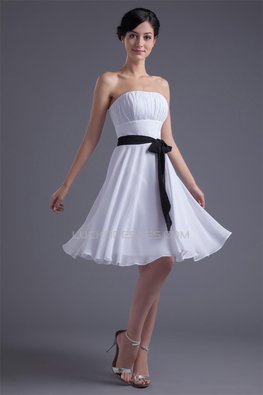 Knee Length Strapless Sleeveless Chiffon Short White