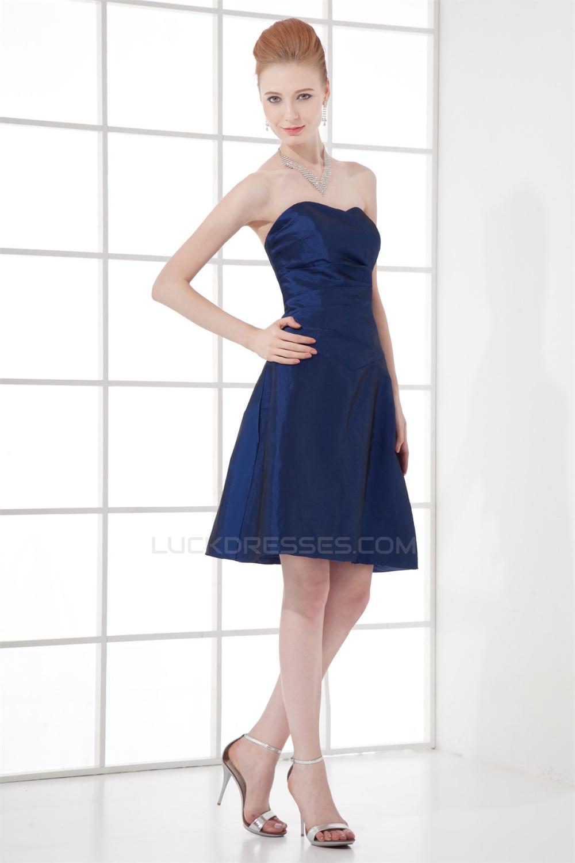 A Line Strapless Taffeta Soft Short Blue Bridesmaid