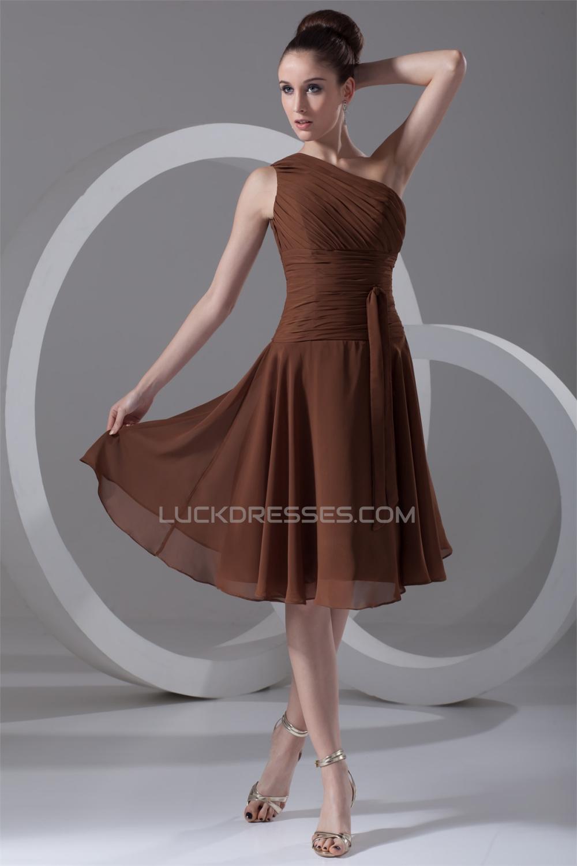 Chiffon One Shoulder Tea Length Dresses Short