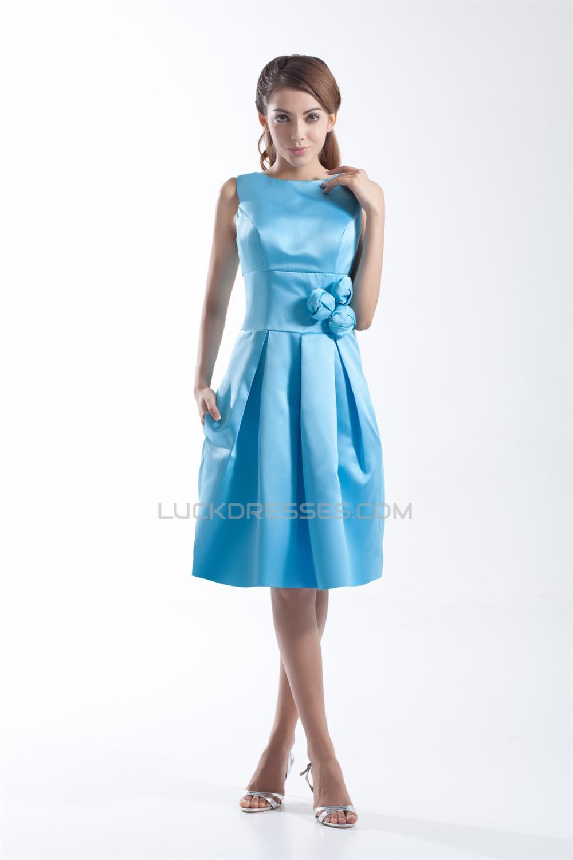 Satin handmade flowers sleeveless sheathcolumn short blue satin handmade flowers sleeveless sheathcolumn short blue bridesmaid dresses 02010511 izmirmasajfo