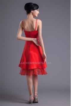 A-Line Handmade Flowers Short Red Bridesmaid Dresses 02010513