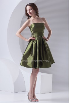 Short/Mini Pleats Strapless Taffeta A-Line Bridesmaid Dresses 02010519