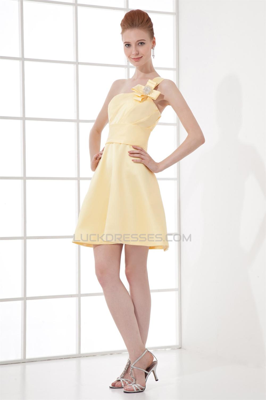 A-Line Short/Mini Sleeveless Bows Satin One-Shoulder Yellow ...