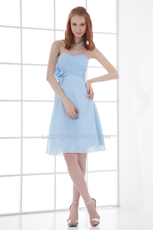 Soft Sweetheart Sleeveless Knee Length A Line Short Blue
