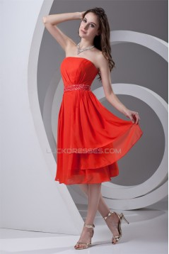 Affordable Strapless Sleeveless Chiffon Beaded Short Bridesmaid Dresses 02010540