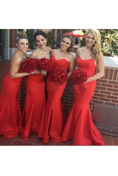 Trumpet/Mermaid Long Red Bridesmaid Dresses 3010003