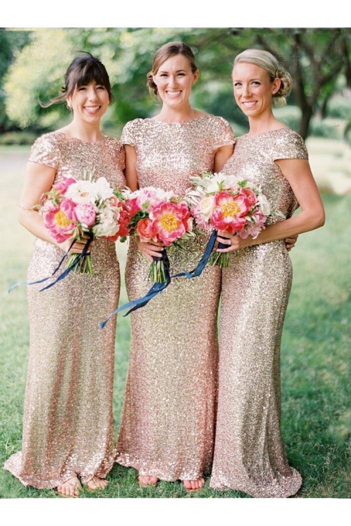 Sheath Cap-Sleeve Sequins Long Bridesmaid Dresses 3010007