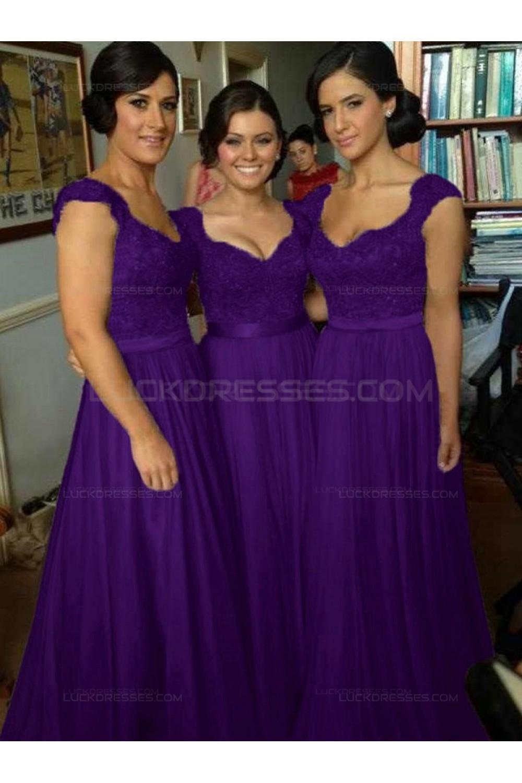 A-Line Cap-Sleeves Lace Chiffon Long Bridesmaid Dresses 3010014 66431aa58