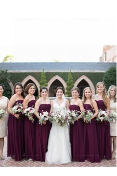 Long Purple Sweetheart Chiffon Floor-Length Bridesmaid Dresses 3010016