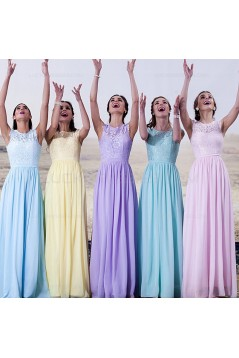 Cap-Sleeves Lace Long Bridesmaid Dresses 3010020