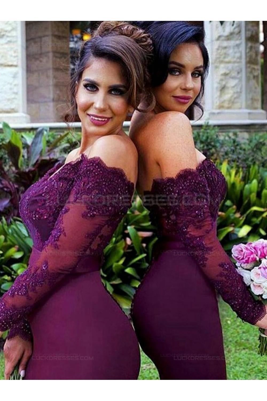100953ccf46c Long Sleeves Off-the-Shoulder Lace Purple Mermaid Wedding Party Dresses  Bridesmaid Dresses 3010030