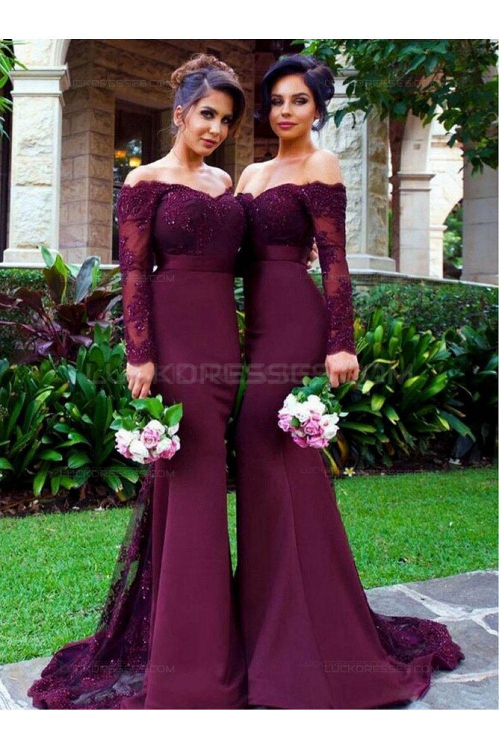Long Sleeves Off The Shoulder Lace Purple Mermaid Wedding