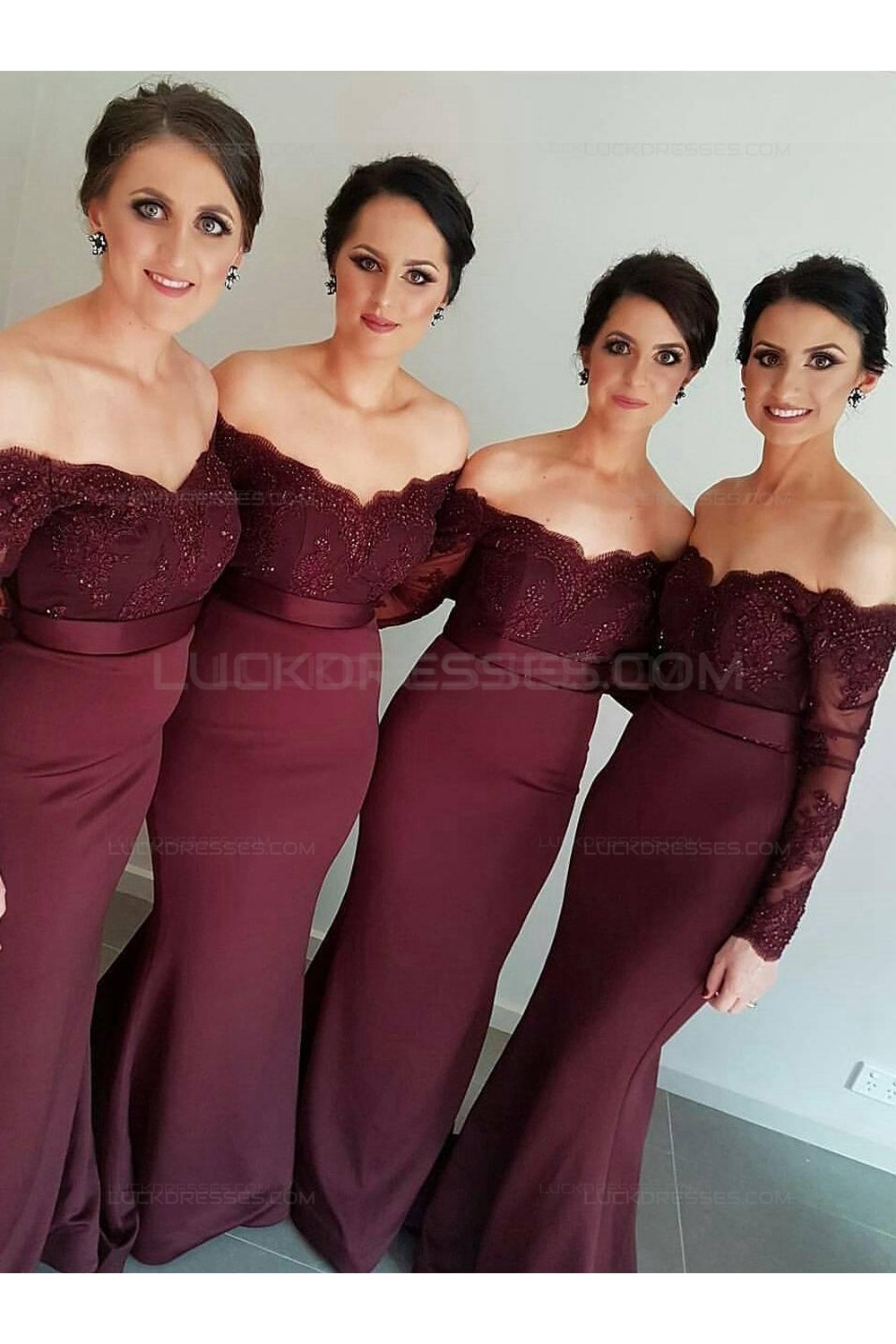 Plum Bridesmaid Dresses | Long Sleeves Off The Shoulder Lace Purple Mermaid Wedding Party