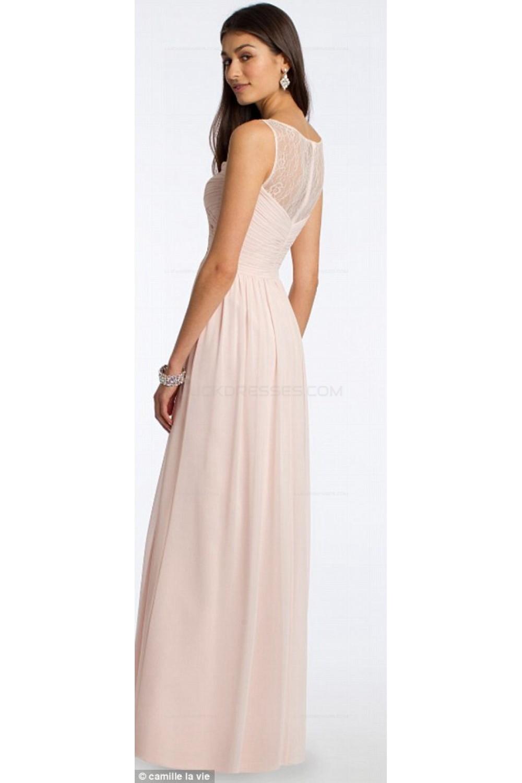 Lace Illusion Neckline Long Pink Floor Length Chiffon Lace