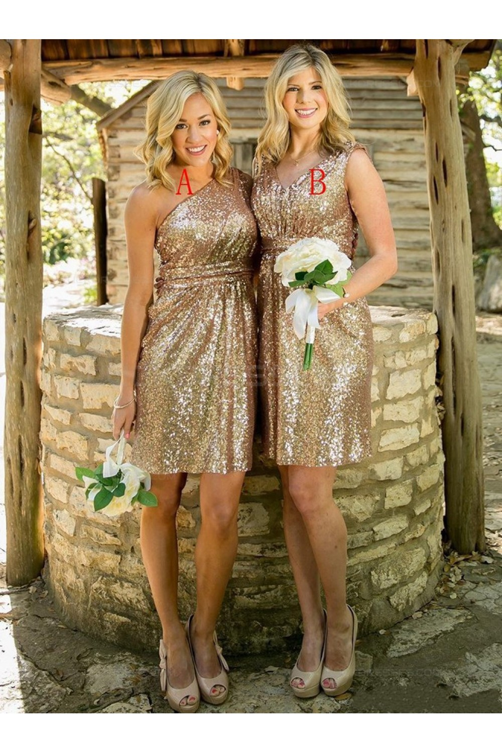 Gold Sequins Short Wedding Party Dresses Bridesmaid