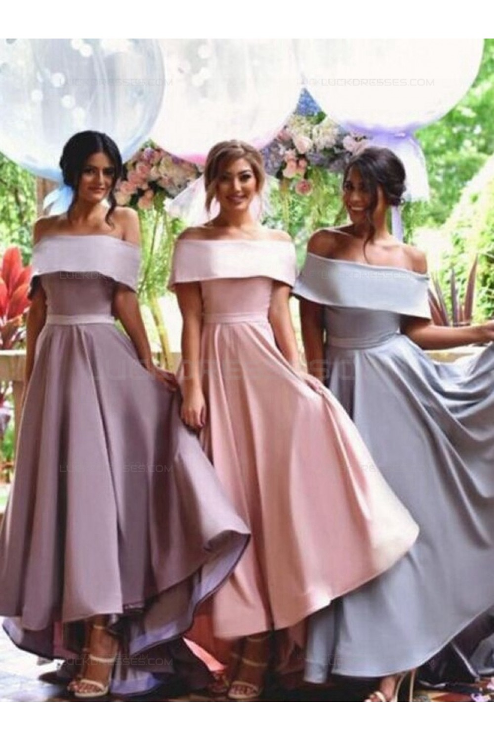 dd7f767da0ce0 A-Line Off-the-Shoulder High Low Wedding Party Dresses Bridesmaid ...