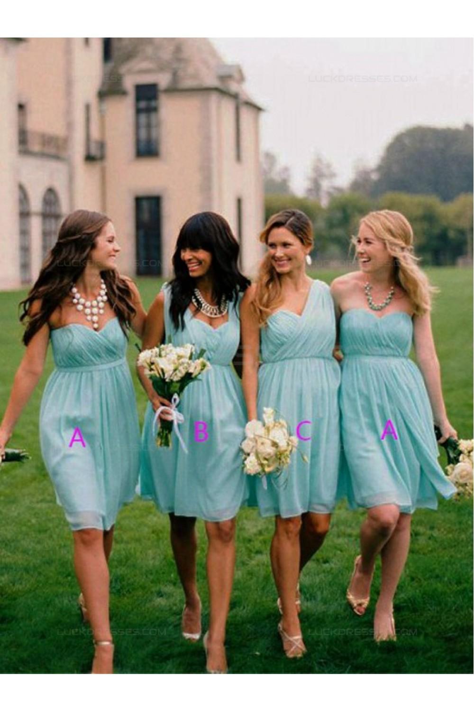 Empire Short Blue Chiffon Wedding Party Dresses Bridesmaid Dresses ...
