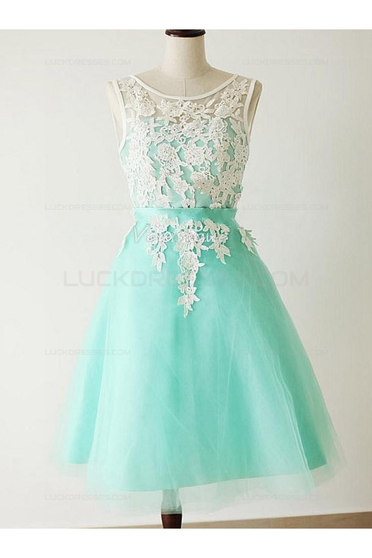 A-Line Short Blue White Lace Wedding Party Dresses Bridesmaid ...