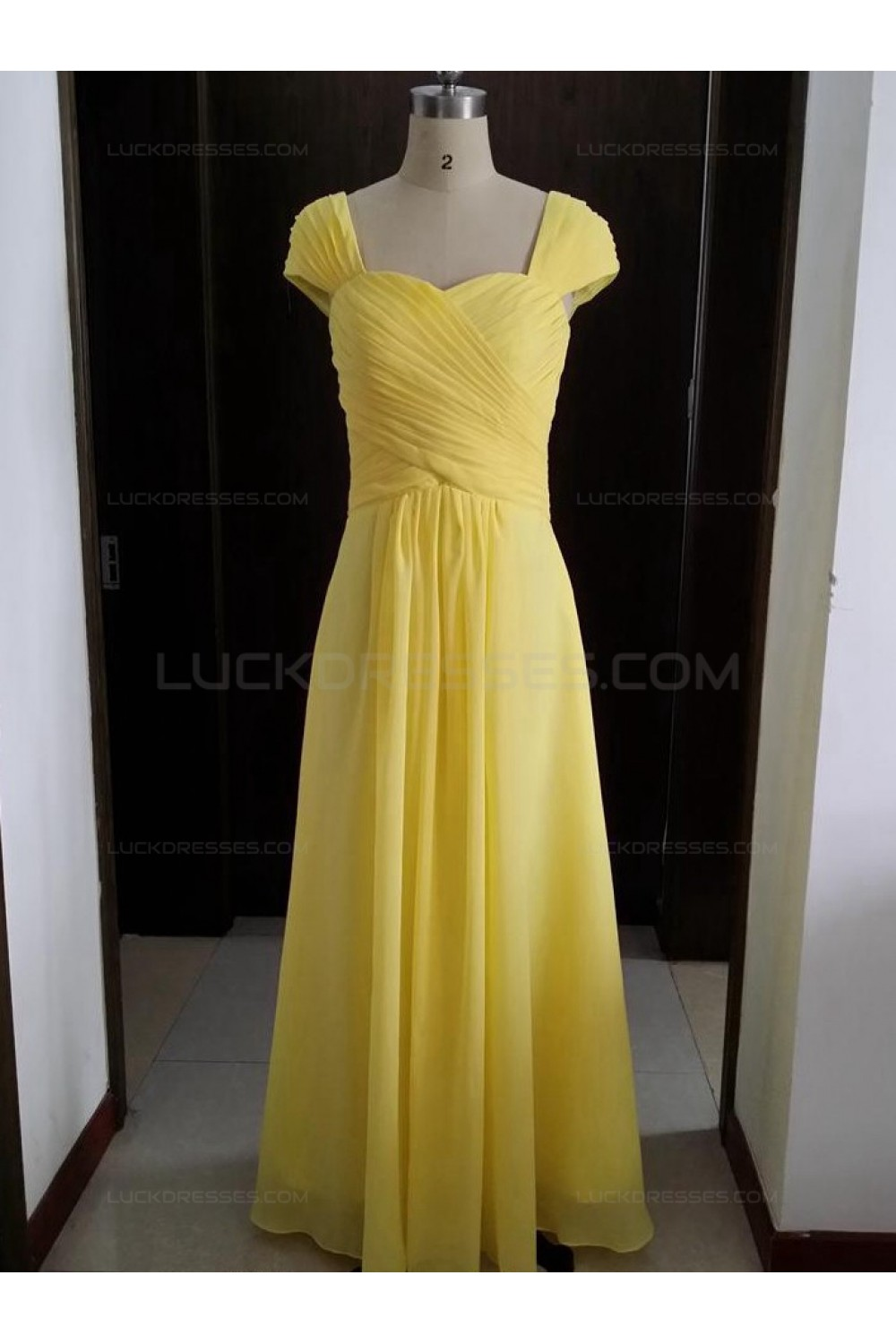 Cap Sleeves Long Yellow Chiffon Wedding Party Dresses