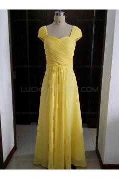 Cap Sleeves Long Yellow Chiffon Wedding Party Dresses