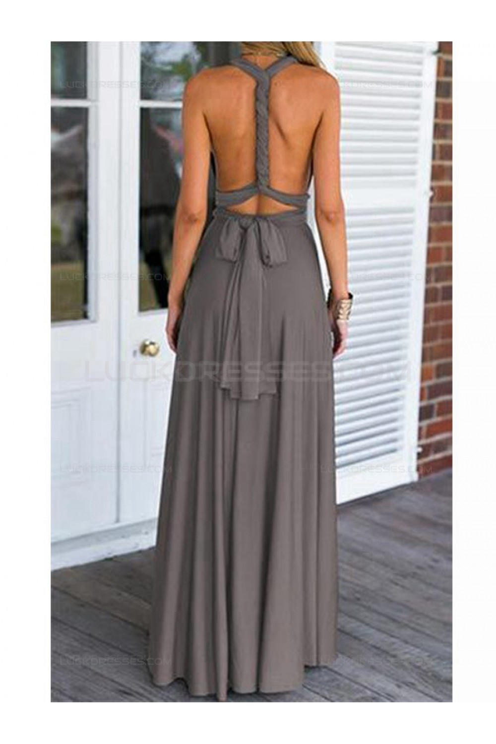 Grey V Neck Chiffon Long Wedding Guest Dresses Bridesmaid Dresses 3010107