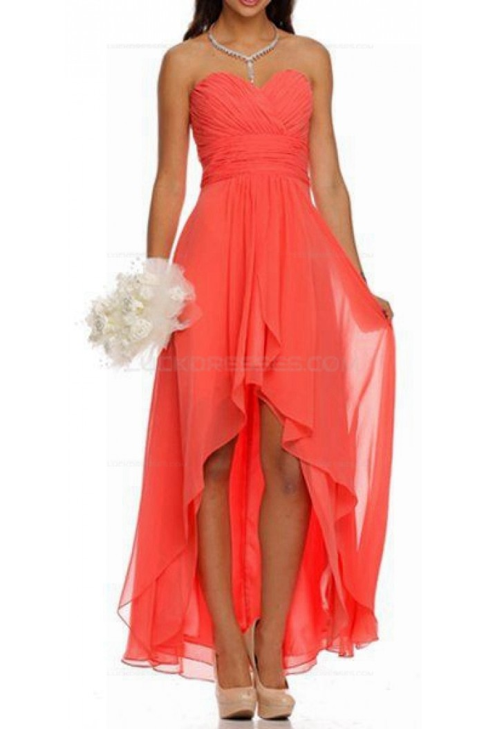 High low ruched bodice sweetheart layered coral wedding for Coral bridesmaid dresses for beach wedding