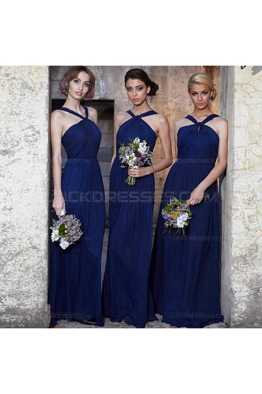 Long Navy Blue Chiffon Wedding Guest Dresses Bridesmaid Dresses 3010118