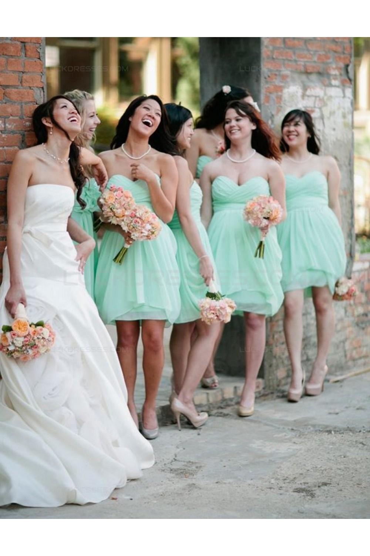 00dd48dd2e6 Mint Green Short Sweetheart Chiffon Wedding Guest Dresses ...
