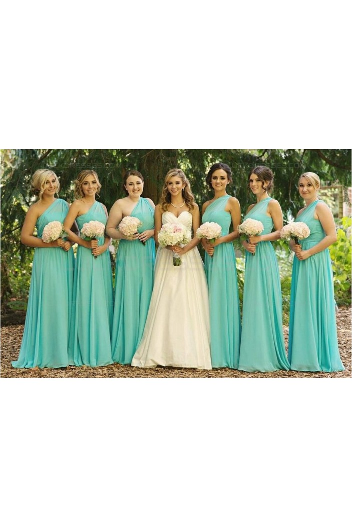 Mint Green One-Shoulder Long Chiffon Wedding Guest Dresses Bridesmaid Dresses 3010162