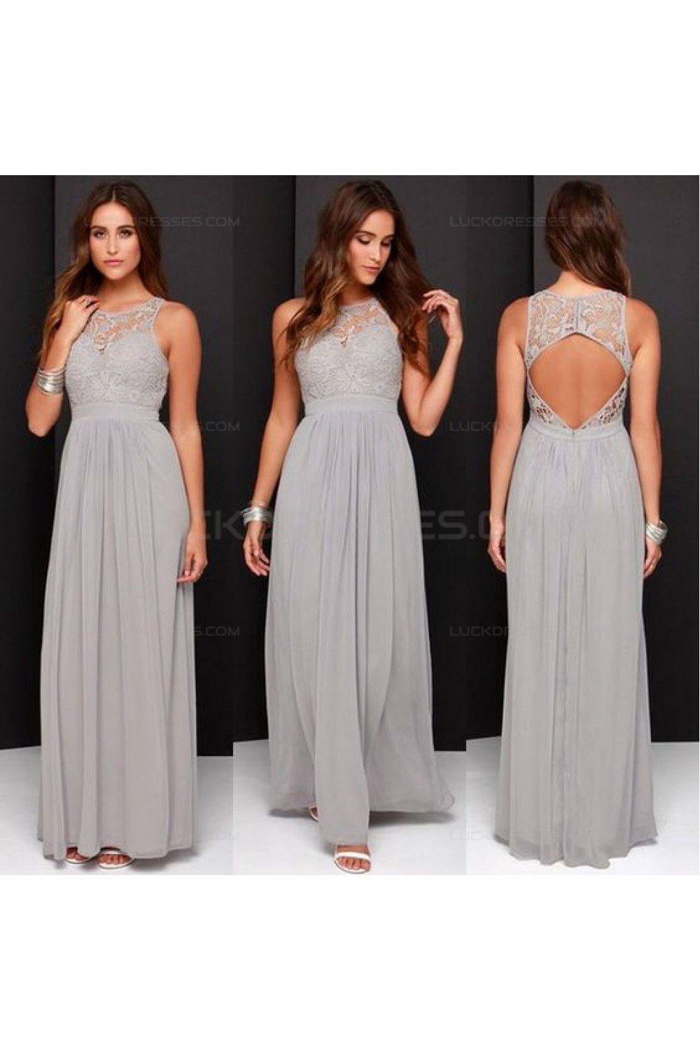 Grey Chiffon Lace Floor Length Wedding Guest Dresses Bridesmaid Dresses 3010166