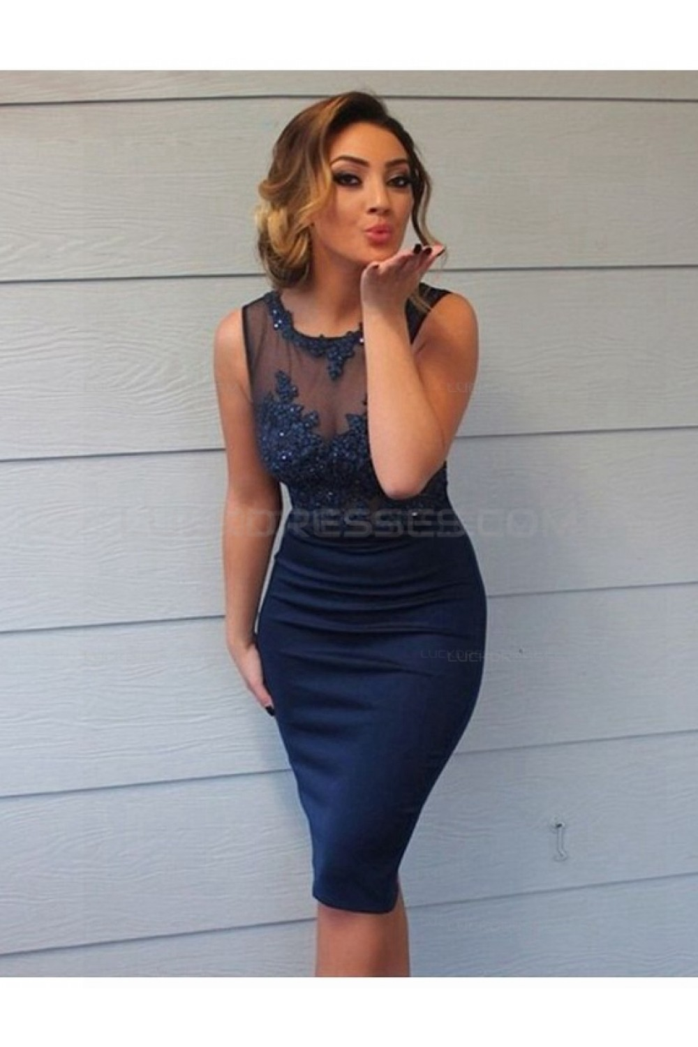 Short Navy Lace Sheer Wedding Guest Dresses Bridesmaid Dresses 3010174