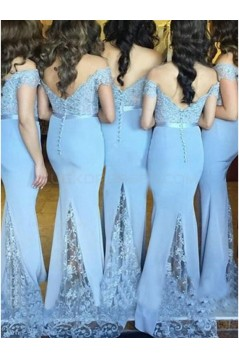 Mermaid Off-the-Shoulder Lace Long Wedding Guest Dresses Bridesmaid Dresses 3010175