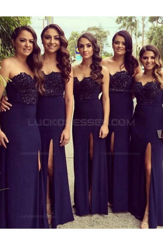 5d094753972 Long Purple Side Slit Lace Chiffon Wedding Guest Dresses ...