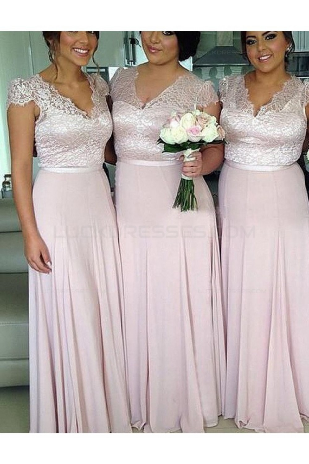 Cap Sleeves V Neck Lace Chiffon Long Plus Size Wedding