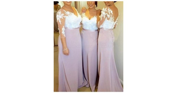 3/4 Length Sleeves V-Neck Lace Long Wedding Guest Dresses
