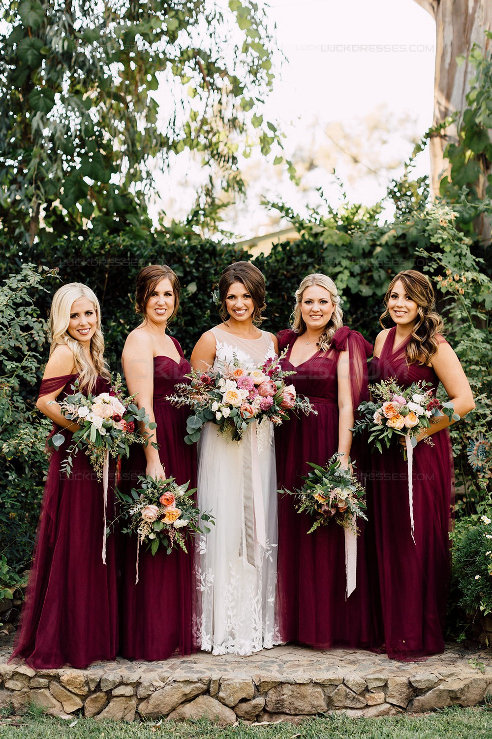 Long burgundy wedding guest dresses bridesmaid dresses 3010194 for Dresses for wedding bridesmaid