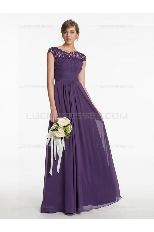 Long Purple Lace Chiffon Wedding Guest Dresses Bridesmaid 3010197