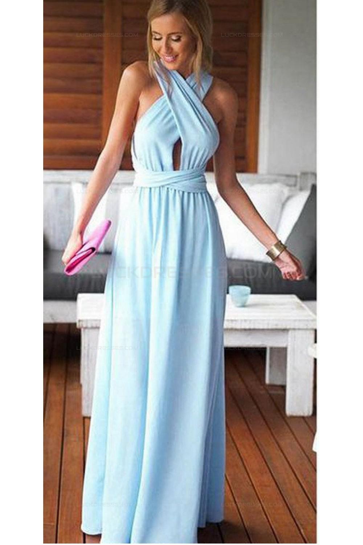 Long Blue Chiffon Wedding Guest Dresses Bridesmaid Dresses 3010200