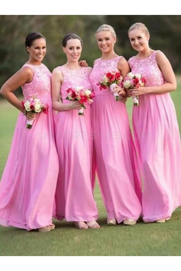 Long Pink Lace Chiffon Wedding Guest Dresses Bridesmaid Dresses 3010202