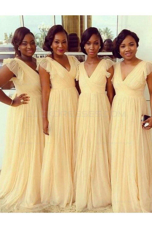 a6ff44c21b70c A-Line V-Neck Plus Size Wedding Guest Dresses Bridesmaid Dresses ...