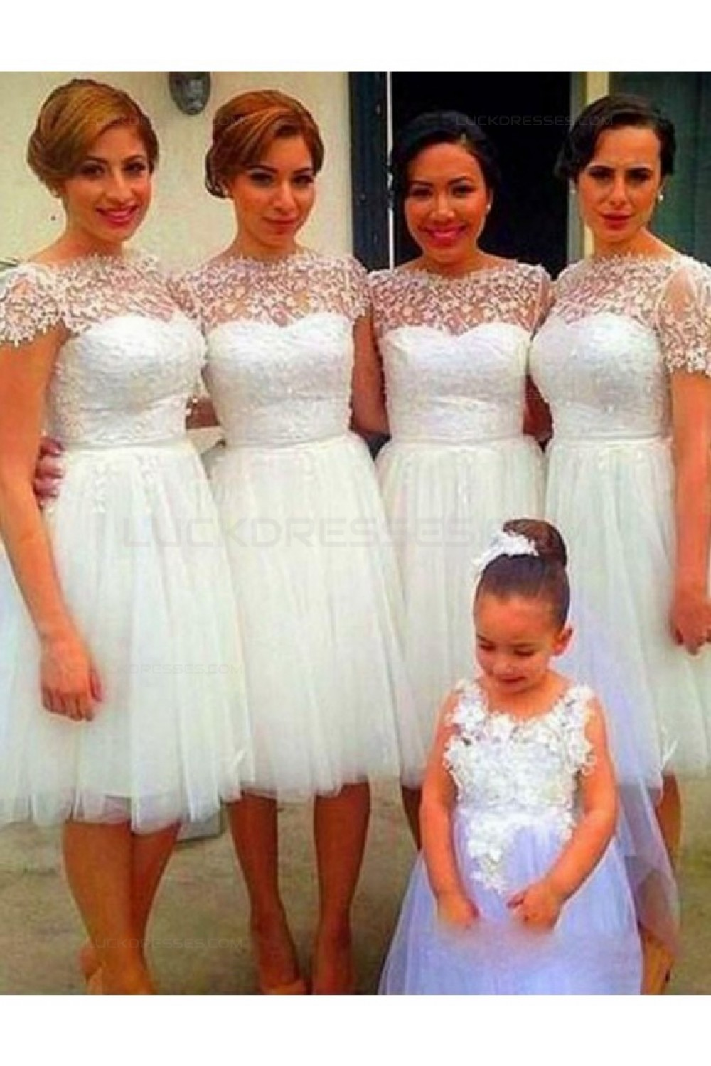 Cap Sleeves Lace Tulle Short Wedding Guest Dresses Bridesmaid ...
