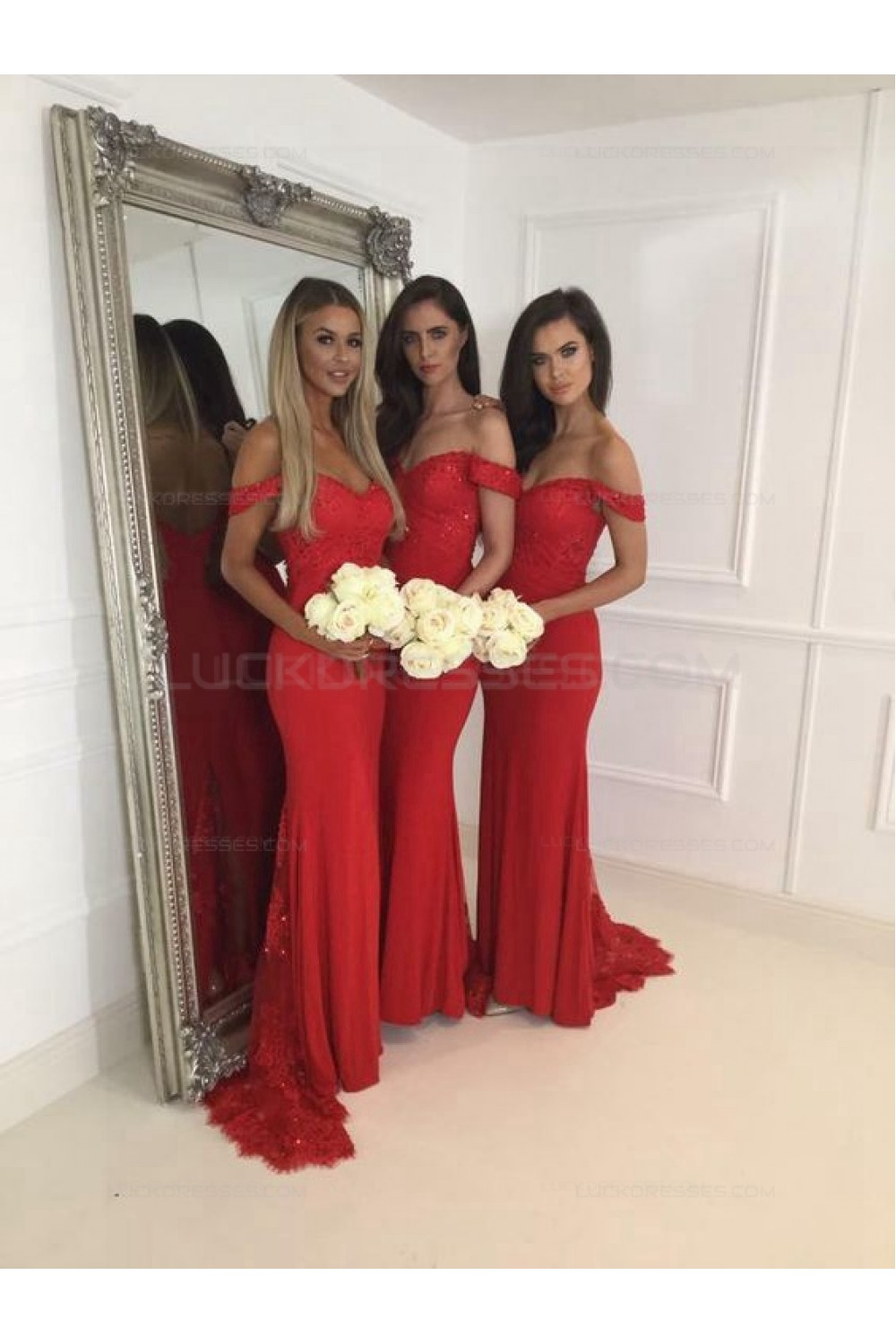 Mermaid Off The Shoulder Long Red Lace Wedding Guest Dresses Bridesmaid Dresses 3010228